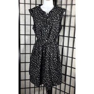 Old Navy Women Black Flower Ruffle button up dress